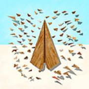 Paper Airplanes Of Wood 10 Art Print