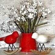 Paper Bouquet And Rocking Birds Art Print