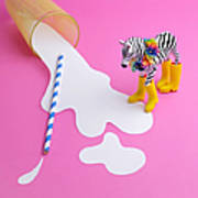 Paper Craft Glass Of Spilled Milk With Art Print