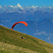 Paragliding In The Mountains Art Print