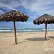 Parasols On Varadero Beach Art Print