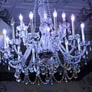Paris Blue Crystal Chandelier Sparkling Chandelier Art - Paris Blue Shimmering Chandelier Art Deco  Art Print