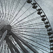 Paris Blue Ferris Wheel Art Print