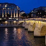Paris Blue Hour - Pont Neuf Bridge And La Samaritaine Art Print