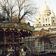 Paris Carousel Merry Go Round Montmartre - Carousel At Sacre Coeur Cathedral  Art Print