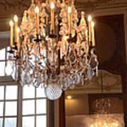 Paris Crystal Chandelier - Paris Rodin Museum Chandelier - Sparkling Crystal Chandelier Reflection Art Print