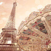 Paris Dreamy Eiffel Tower And Carousel With Hearts - Paris Sepia Eiffel Tower And Carousel Photo Art Print
