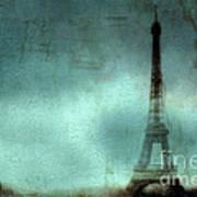 Paris Dreamy Eiffel Tower Teal Aqua Abstract Art Photo - Paris Eiffel Tower Painted Photograph Art Print by Kathy Fornal