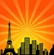 Paris France Downtown City Skyline Art Print