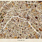 Paris France Street Map Art Print