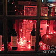 Paris Holiday Christmas Wine Window Display - Paris Red Holiday Wine Bottles Window Display  Print by Kathy Fornal