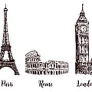 Paris, London Rome. Set Of European Art Print