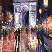 Paris Miting Point Arc De Triomphie Art Print