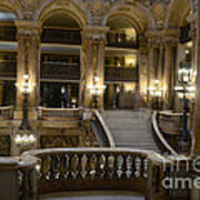Paris Opera House Interior Romantic Staircase Balconies And Architecture  Art Print by Kathy Fornal