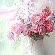 Paris Peonies Roses Shabby Chic Art - Romantic Paris Peonies And Roses Impressionistic Floral Art Art Print