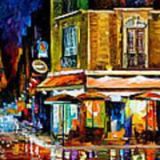 Paris-recruitement Cafe - Palette Knife Oil Painting On Canvas By Leonid Afremov Art Print