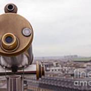 Paris Rooftops Telescope View Of Eiffel Tower - Paris Telescope Rooftop Eiffel Tower View Art Print