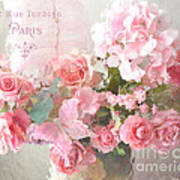 Paris Shabby Chic Dreamy Pink Peach Impressionistic Romantic Cottage Chic Paris Flower Photography Art Print