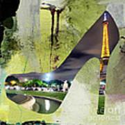 Paris Skyline In A Shoe Art Print
