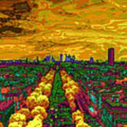Paris Skyline Pop Art Art Print