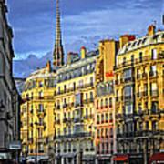 Paris Street At Sunset Art Print by Elena Elisseeva
