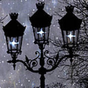 Paris Street Lights Lanterns - Paris Starry Night Dreamy Surreal Starlit Night Street Lamps Of Paris Art Print by Kathy Fornal