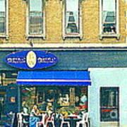 Paris Style French Bistro Art Sidewalk Cafe Terrace  Antique Shop C Spandau Montreal City Paintings Art Print