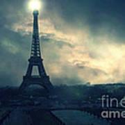 Paris Surreal Eiffel Tower Storm Clouds Sun Setting - Teal Aqua Dark Green Eiffel Tower Landscape Art Print