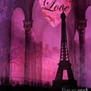 Paris Romantic Pink Fantasy Love Heart - Paris Eiffel Tower Valentine Love Heart Print Home Decor Art Print