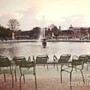 Paris Tuileries Garden Park Fountain Green Chairs - Paris Autumn Fall Tuileries - Autumn In Paris Art Print