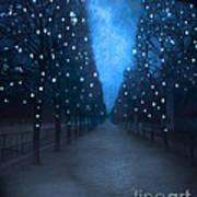 Paris Tuileries Trees - Blue Surreal Fantasy Sparkling Trees - Paris Tuileries Park Print by Kathy Fornal