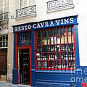 Paris Wine Shop Resto Cave A Vins - Paris Street Architecture Photography Art Print