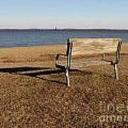 Park Bench At Sandy Point Art Print