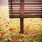 Park Bench In Autumn Art Print by Edward Fielding