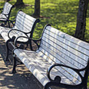 Park Benches At Portland Waterfront Park Art Print