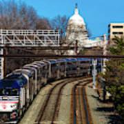 Passenger Metro Train With Us Capitol Art Print