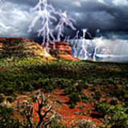 Passing Storm Near Sedona Arizona Art Print by Ric Soulen