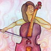 Passionate Cellist Art Print