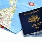 Passport And Map Of Bermuda Art Print