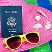 Passport On Pink Hat Art Print