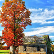 Past Its Prime I - A Barn In The Fall Art Print