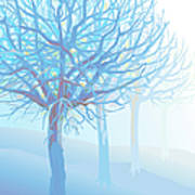 Pastel Blue Trees And Branches In Foggy Art Print