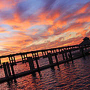 Pastel Painted Sky At The Pier Art Print