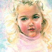Pastel Portrait Of An Angelic Girl Art Print