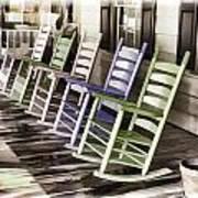 Pastel Rocking Chairs Art Print