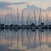 Pastel Sailboats Reflections At Dusk Art Print