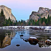 Pastel - Sunset View Of Yosemite National Park. Art Print