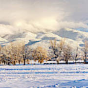 Pasture Land Covered In Snow With Taos Art Print