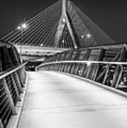 Path To The Zakim Bridge Bw Art Print