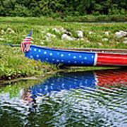 Patriotic Canoe #1 Art Print